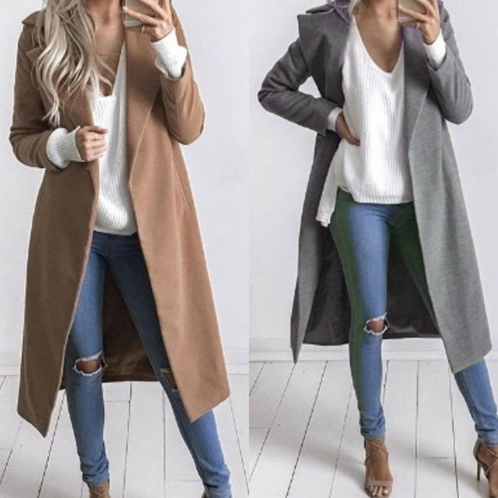 2018 New Women Winter Wool Lapel Long Coat Trench Parka Jacket Overcoat Outwear Long Wool Coat Outwear Fashion Fashion