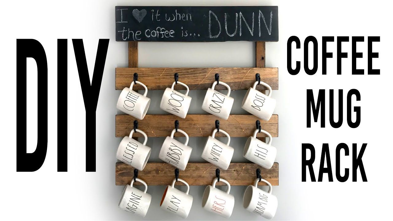 Diy Coffee Mug Rack For Wall Youtube Wood Crafts Diy Diy