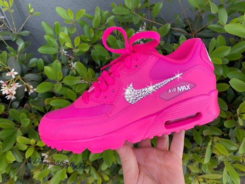 e5bc7054ff Swarovski Women's Nike Air Max 90 Fuchsia Pink Sneakers Blinged Out ...