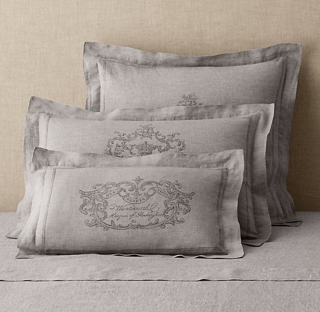 Rh 39 S Wentworth Crest Vintage Washed Belgian Linen Sham Free Shippingwoven Of Fine Belgian Flax O Linen Shams Belgian Linen Duvet Covers Linen Duvet Covers