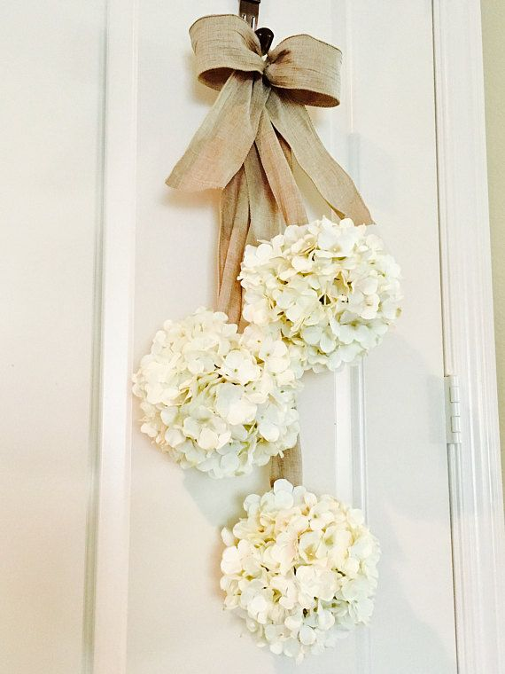 This Item Is Made Of 3 Silk Hydrangea Flower Balls Suspended From Wired Ribbon Attached To A Round Hook For Door Wreath Hanger Silk Hydrangeas Door Decorations