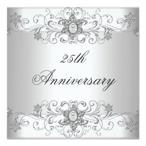 Elegant Th Anniversary Silver White Diamond Card  Anniversary