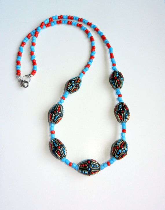 Coral and Turquoise Beaded Necklace by CloudNineDesignz on Etsy, $28.00