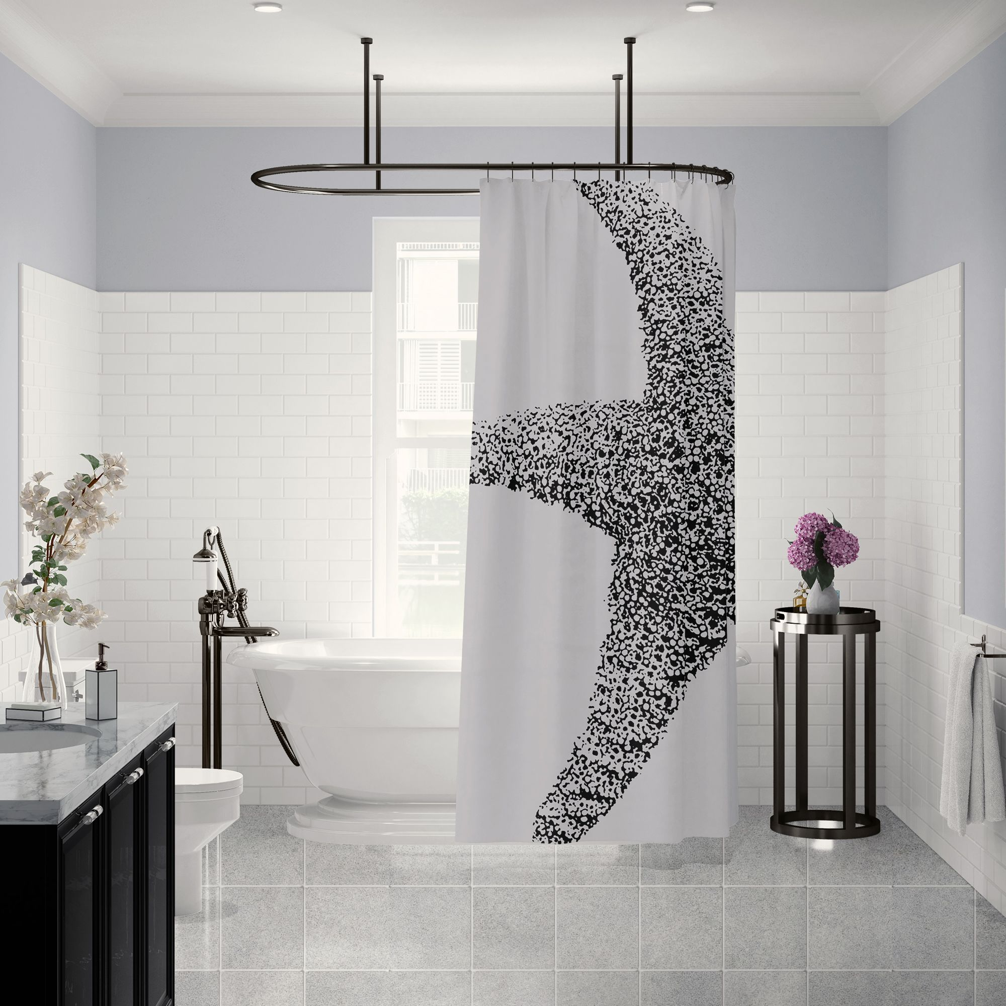Check Out This Bathroom With Large Scale Starfish Print Shower Curtain This Would Work With Almost Any Co Modern White Bathroom Bathroom Decor Beach Bathrooms