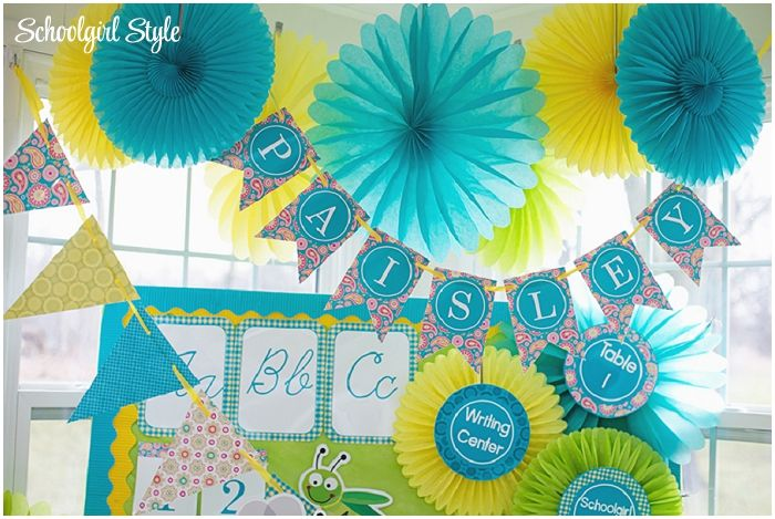 Yellow Classroom Decor ~ Turquoise blue aqua gingham lilly pulitzer inspired