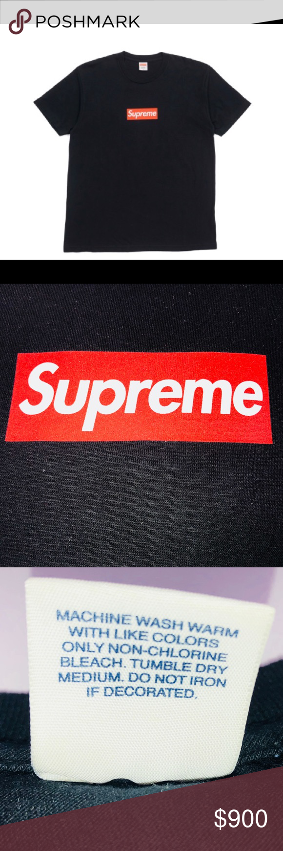 Supreme 20th Anniversary Box Logo Tee Black SS14 Red and
