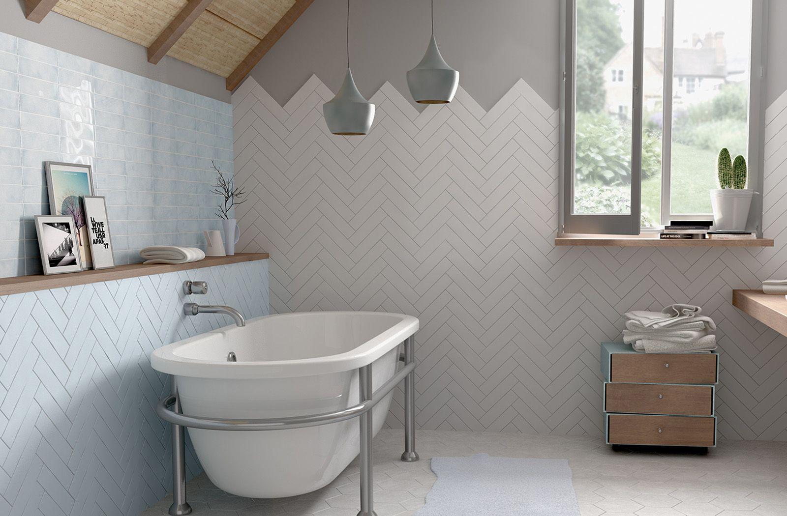 Matt Decorative Wall Tile In Herringbone Pattern Featuring Dunas Blue Moon White Matt From Equipe Ce Herringbone Tile Bathroom Tile Bathroom Herringbone Tile