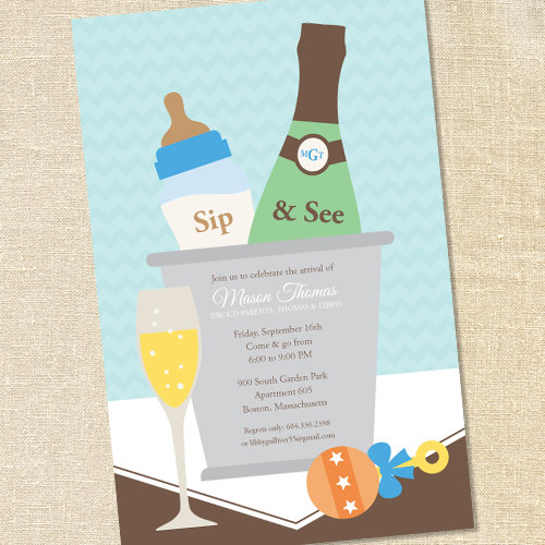 Sweet Wishes Boys Champagne Baby Shower Sip See Invitations