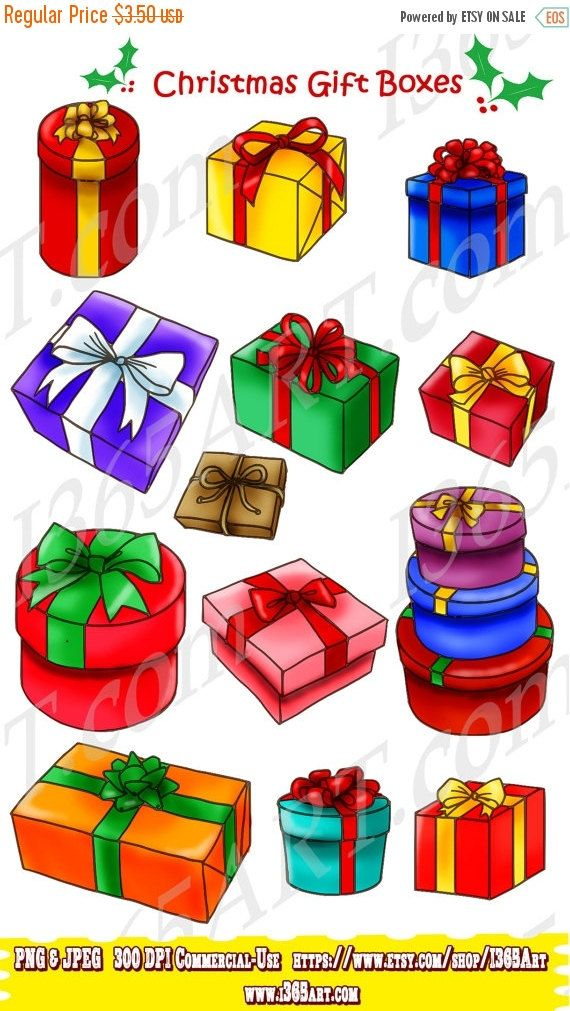 Gift Boxes Clipart Merry Christmas Clipart Scrapbooking Etsy Christmas Gift Box Merry Christmas Gifts Christmas Clipart