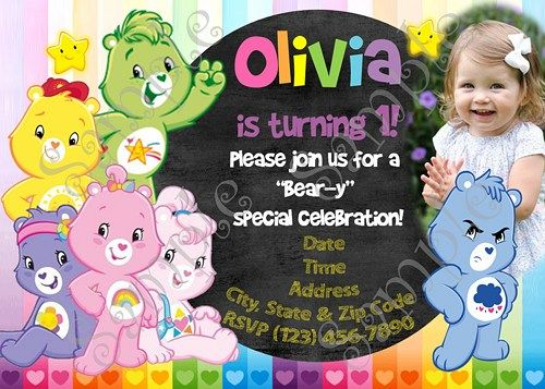 Care Bears Invitation FREE Thank you card – Care Bears Birthday Card
