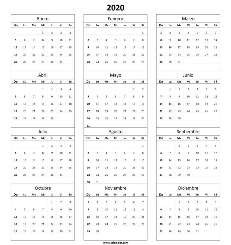 Calendario Chile 2020.Calendario 2020 En Blanco Para Imprimir Agendas