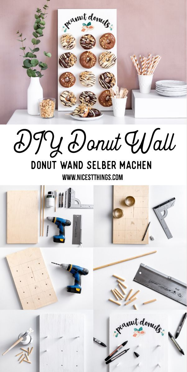 Photo of … peanut butter cream donuts + DIY donuts wall …
