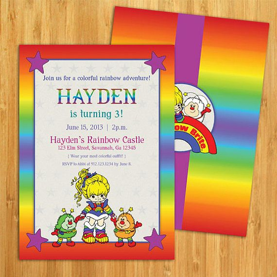 DIY Rainbow Brite Inspired Birthday Invitation