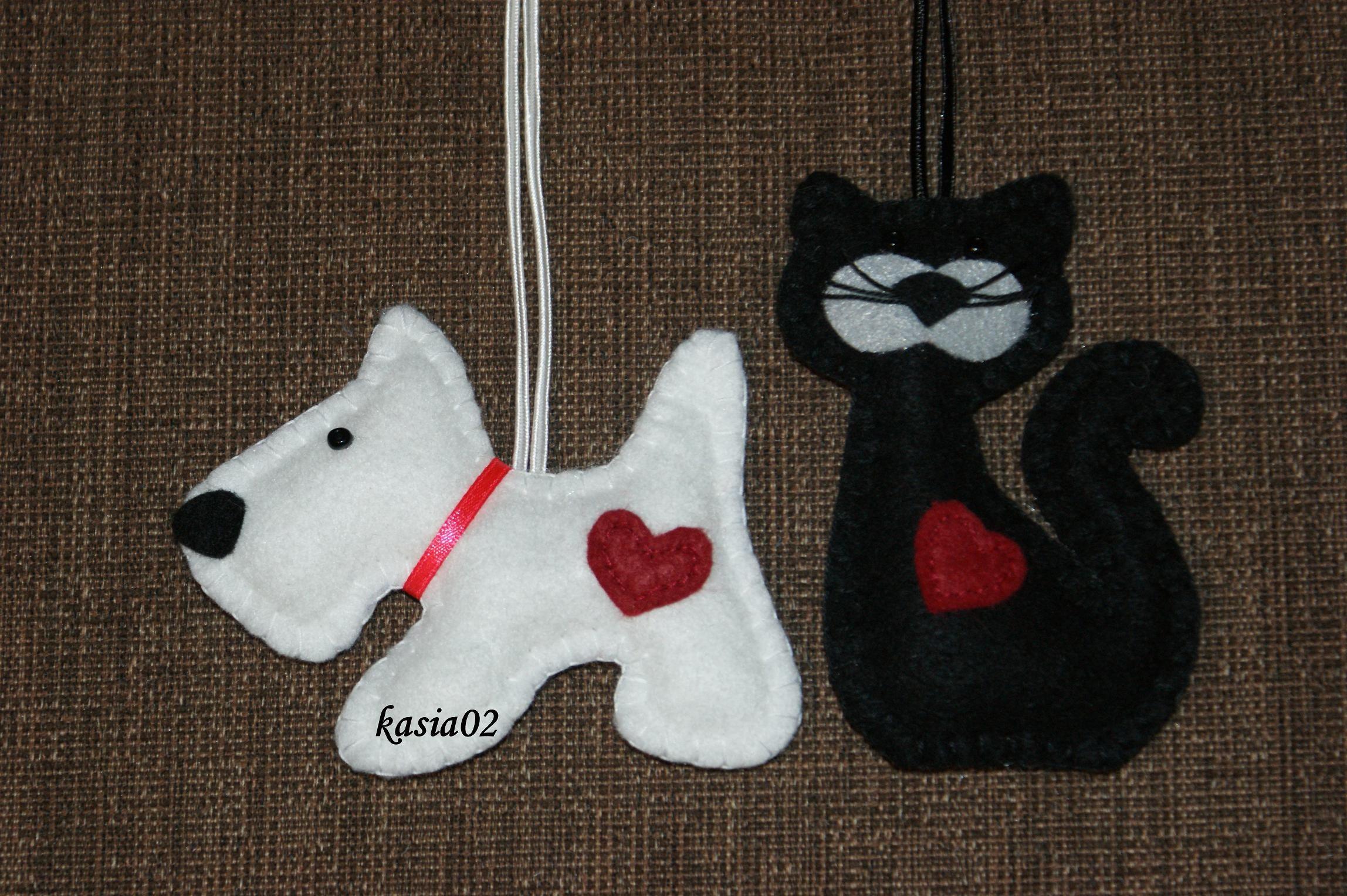 Piesek I Kotek Z Filcu Felt Christmas Stockings Holiday Decor Christmas Ornaments