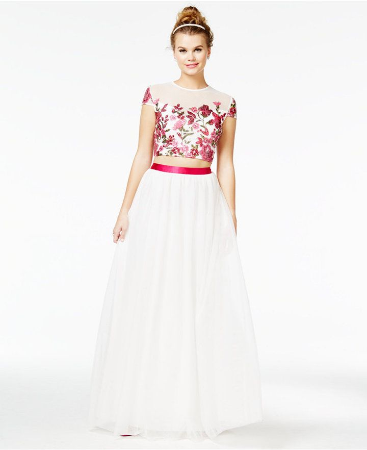 Say Yes to the Prom Juniors  2-Pc. Floral-Sequined A-Line Gown 6724ac32db65