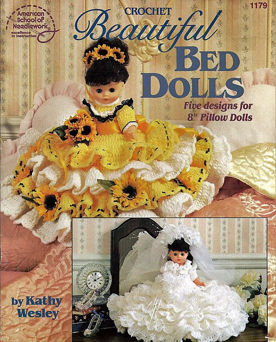 Beautiful Bed Dolls Crochet Pattern American School of Needlework 1179 #bearbedpillowdolls