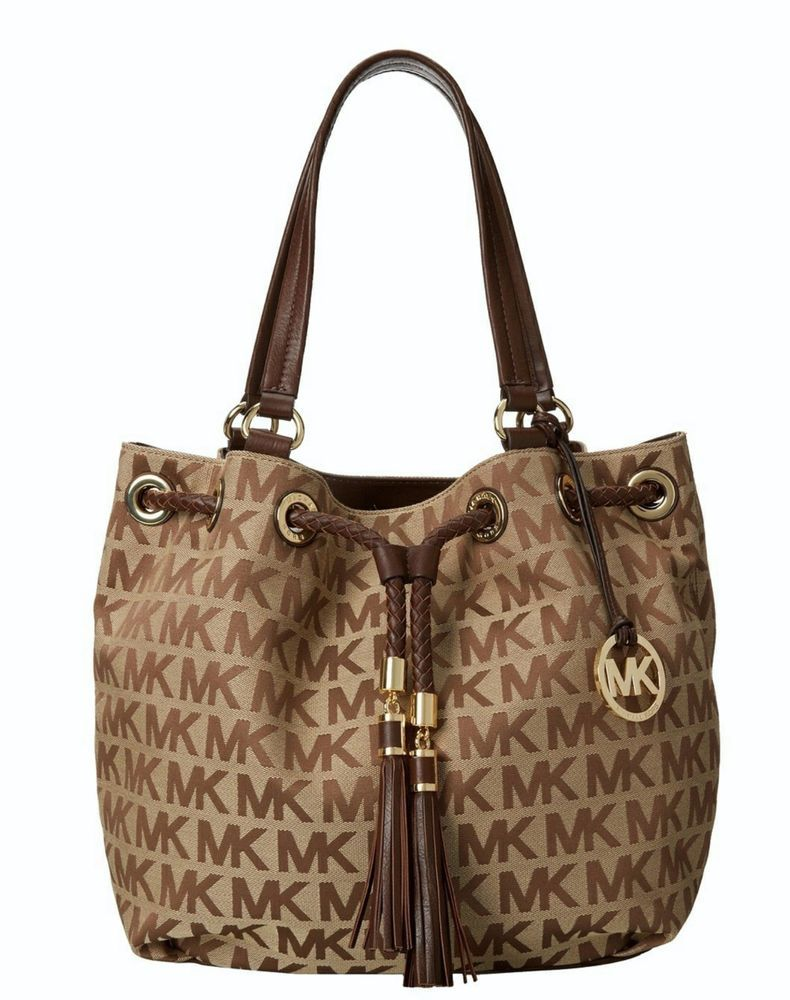00b13cbf9761 New Michael Kors Signature Jet Set Item Large Gathered Tote Fringe Tassel  Mocha  MichaelKors  TotesShoppers