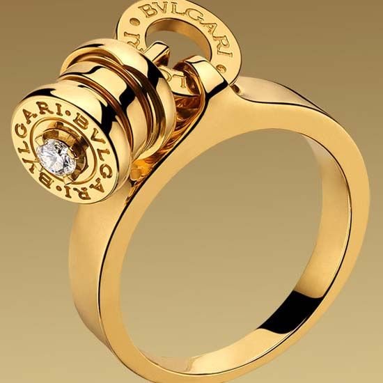 bvlgari ring in yellow gold with diamond