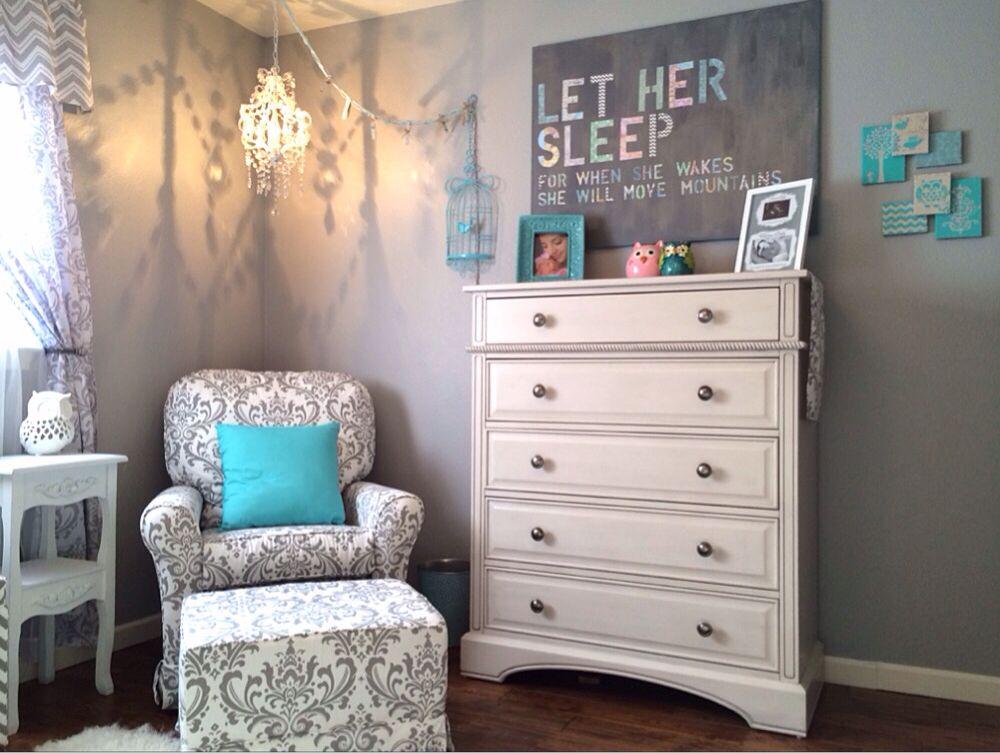 Nursery Neutral, gray and white damask / chevron, DIY let her sleep sign, hobby  lobby chandelier - Kinslee's Nursery Neutral, Gray And White Damask / Chevron, DIY