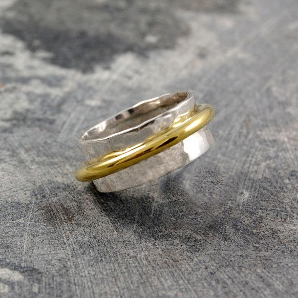 Duo Cone Spinning Ring Silver