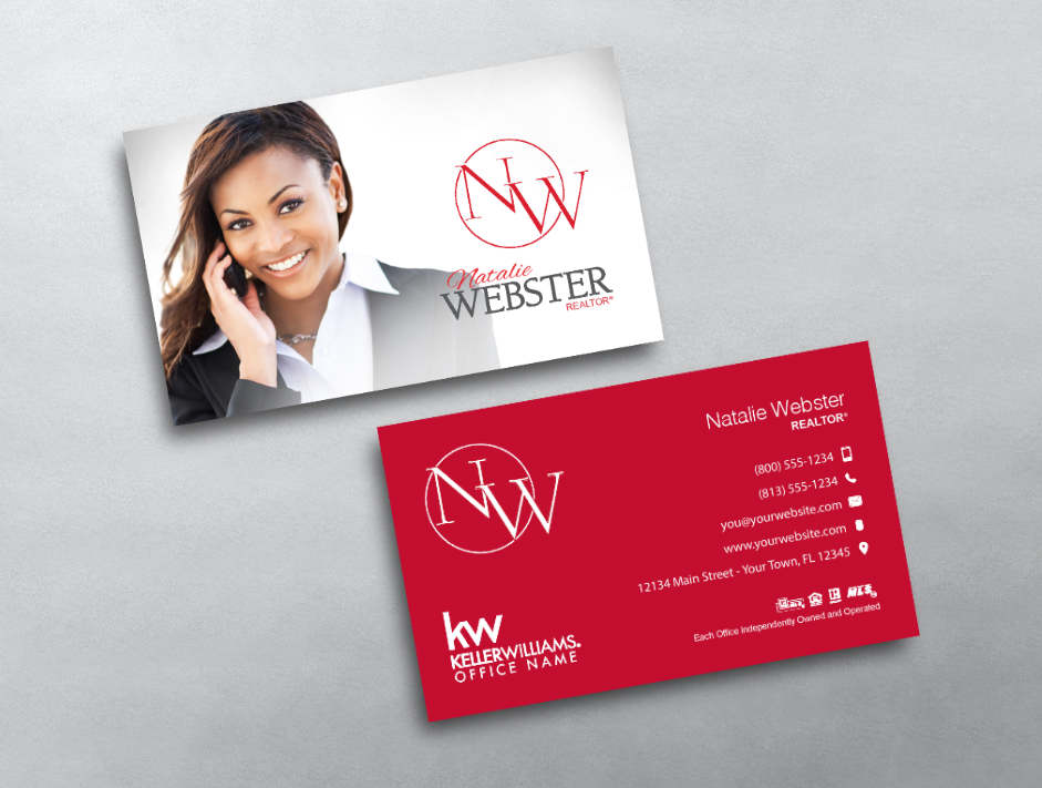 Our Clean Bright Professional Keller Williams Monogram Business Card Is A B Keller Williams Business Cards Real Estate Business Cards Realtor Business Cards