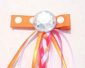 Clip Hair Ribbon - Accesorios para el cabello trenzado de cinta - Addison Series trenzado Clip riboon en Hot Pink / Orange - Accesorios Grils Cabello