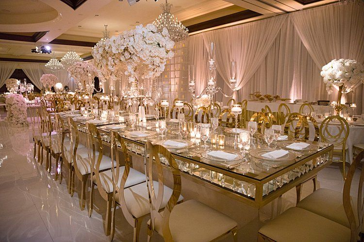 Opulent Themed Reception With Gold Everything Love The Drapery Too