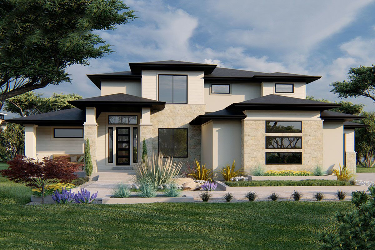 Plan 910002whd Exclusive Modern Prairie House Plan With Optional Finished Lower Level Prairie House Dream House Exterior Modern Prairie Home