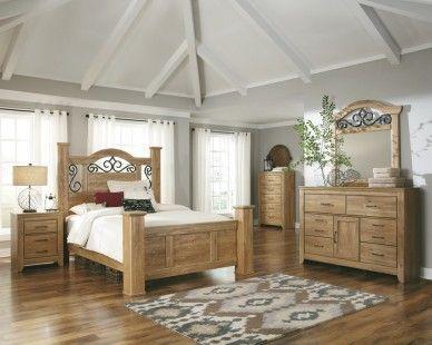 6 Piece Queen Poster Bedroom Set - Light Brown Pine Grain - Sam