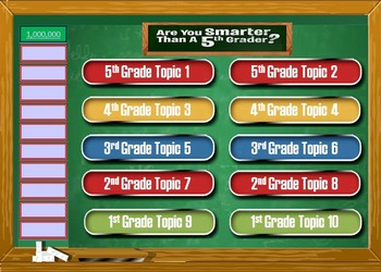 Are You Smarter Than A Th Grader Powerpoint Template Game For