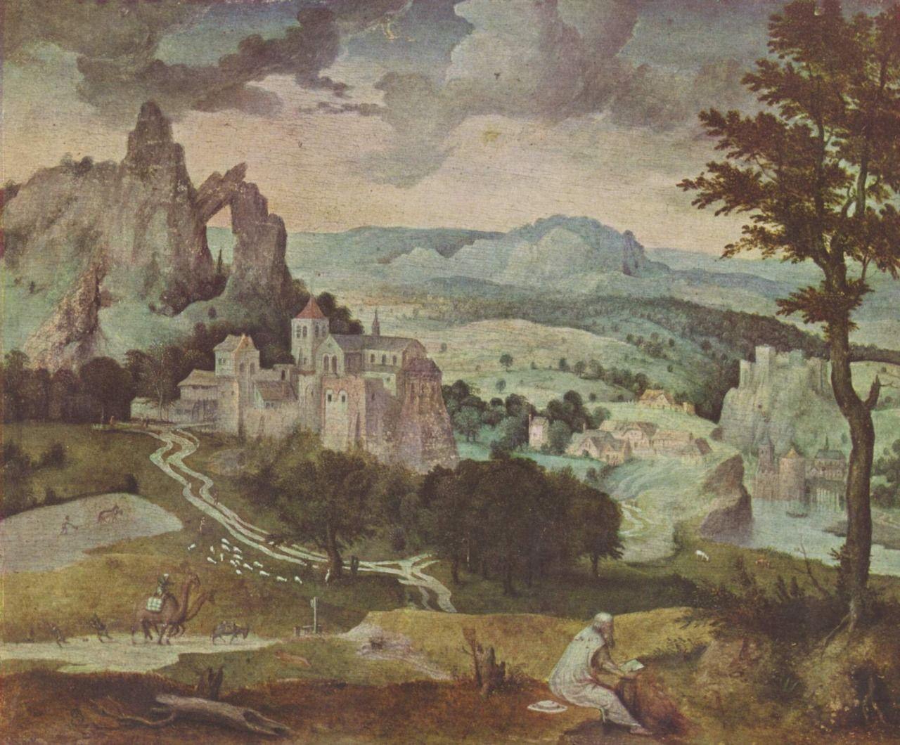 Landschaftsmalerei renaissance  Cornelis Massys. (ca. 1500-1556/57) Hl. Hieronymus in einer ...