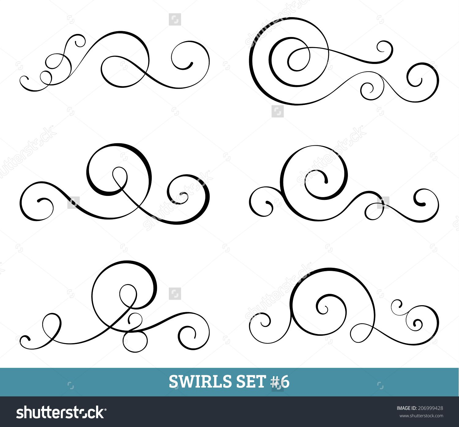 Set Of Six Vector Flourish Swirls Simple Black Contours On White