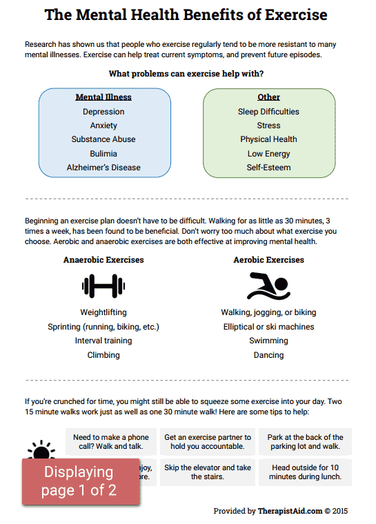 Mental Health Benefits Of Exercise Preview Activity Worksheets