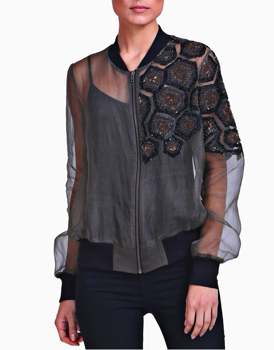 Olive Green Embellished Sheer Bomber Jacket Shell Fabric Pure Organza Suede Color Black Bomber Jacket Fashion Fashion Outfits [ 1225 x 960 Pixel ]