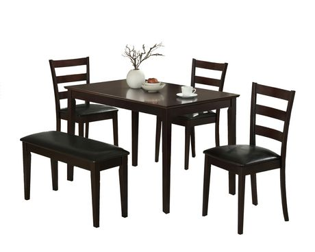Monarch Specialties Inc Samuel 5 Piece Dining Set Dark Brown Solid Wood Dining Chairs Dining Set With Bench Dining Table In Kitchen