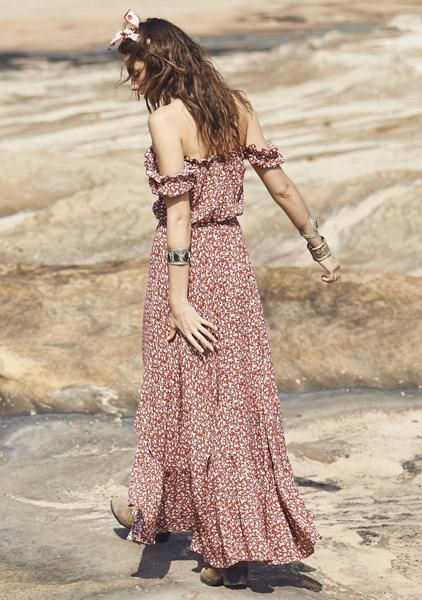 The Open Road Willow Day Dress Baby Blooms Maroon