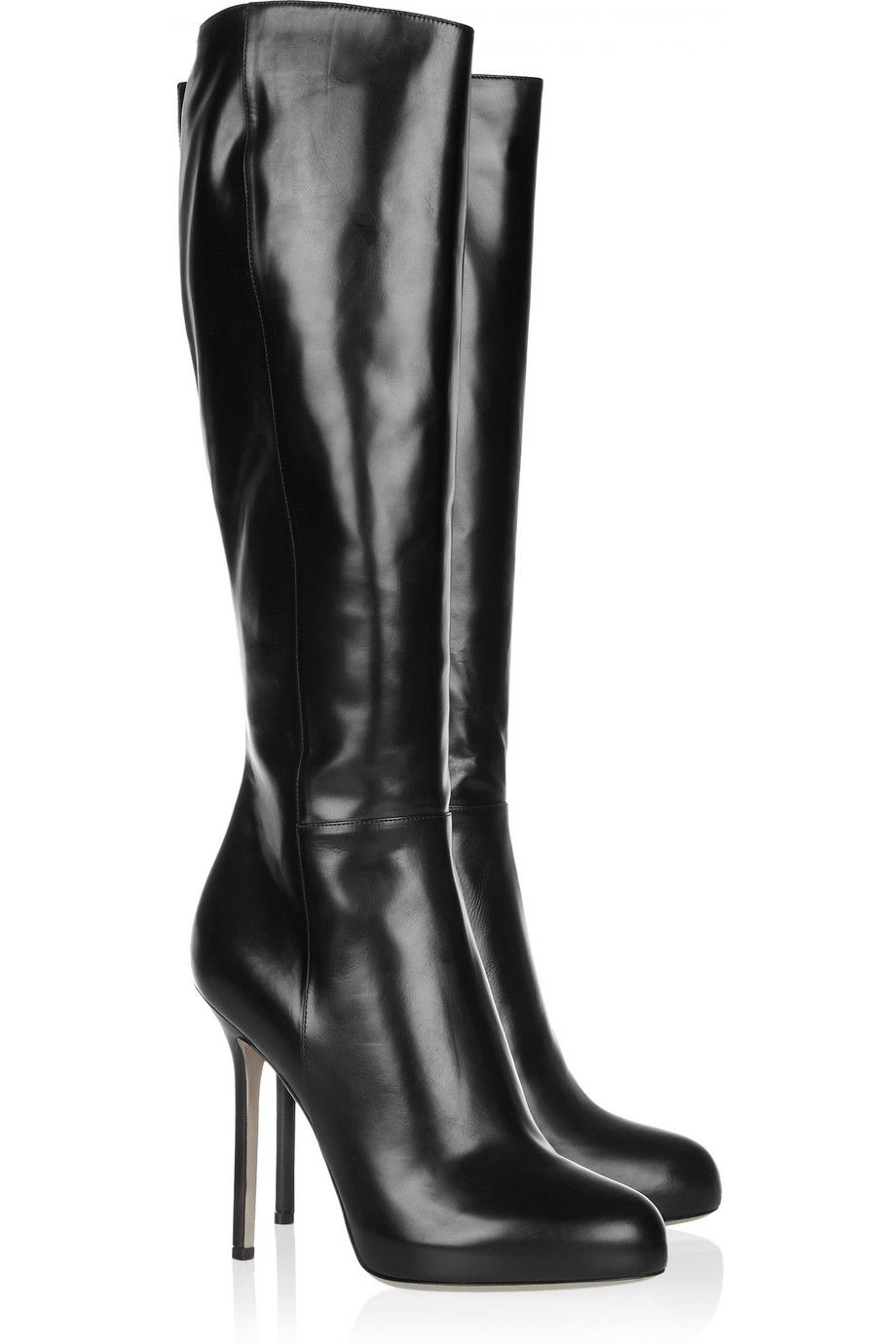 The biker chic black leather boots (by Sergio Rossi) are timeless ...