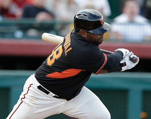 03/05/14--Matt Cain's delayed Cactus League debut worked out well as the GIANTS right-hander pitched 3 scoreless innings in today's game against the Angels. Pablo Sandoval and Michael Morse delivered RBI's to give the GIANTS the lead. Final score: GIANTS 3, Angels 2.