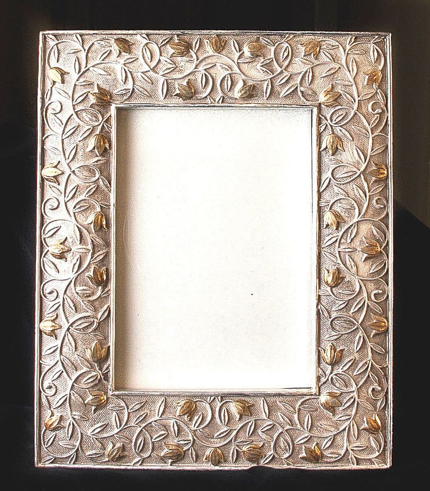 Picture frame heavy resin metallic finish flowers and vines silver picture frame heavy resin metallic finish flowers and vines silver and gold jeuxipadfo Image collections