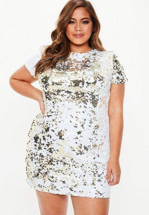 28271aeb1 Missguided Plus Size Gold Two Way Sequin T-Shirt Dress Sequin T Shirt Dress