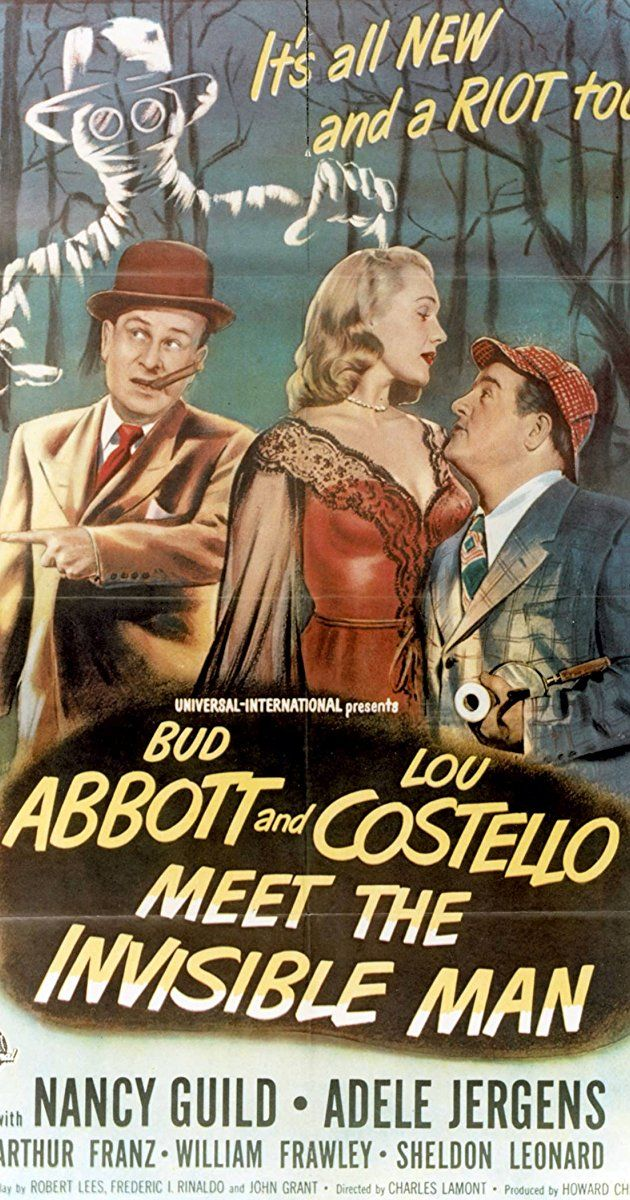 Abbott And Costello Meet The Invisible Man Directed By Charles Lamont With Bud Abbott Lou Costello Nancy Guild Arthur Franz Two Bumbling Priva Invisible Man Film Posters Vintage Abbott And Costello