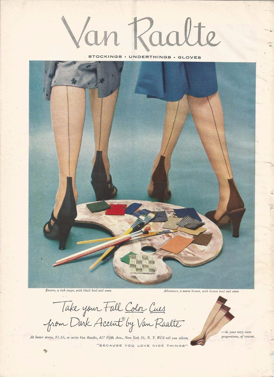 1952 VAN RAALTE stockings original print ad