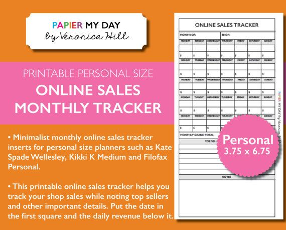 personal monthly online sales tracker printable etsy monthly sales