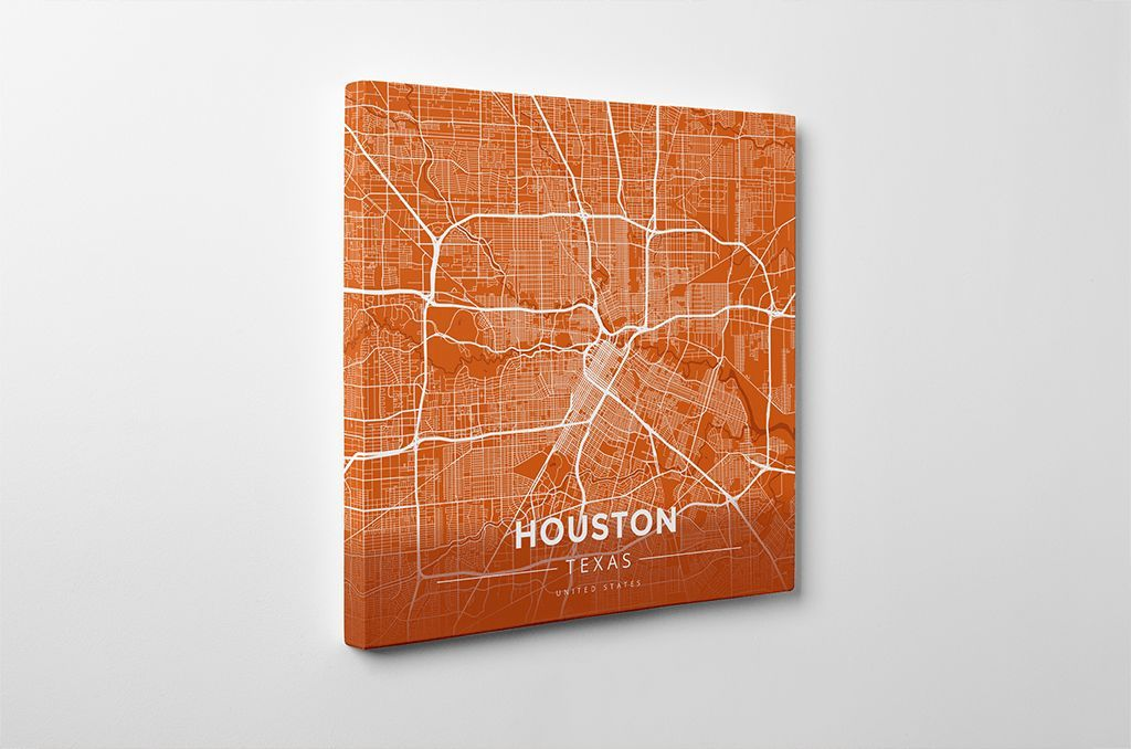 Houston Map Framed%0A Gallery Wrapped Map Canvas of Houston Texas  Modern Burnt  Houston Map Art