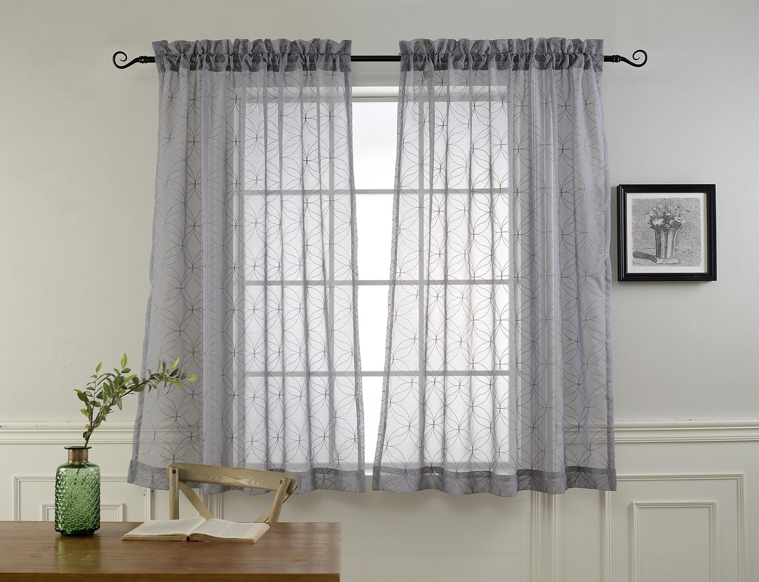 Rod Pocket Sheer Curtains For Bedroom By Mysky Home Embroidery