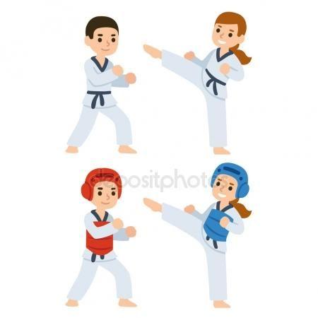 Descargar Niños De Dibujos Animados De Taekwondo Ilustración De Stock 122193918 Dibujos De Taekwondo Taekwondo Niños Imagenes De Taekwondo