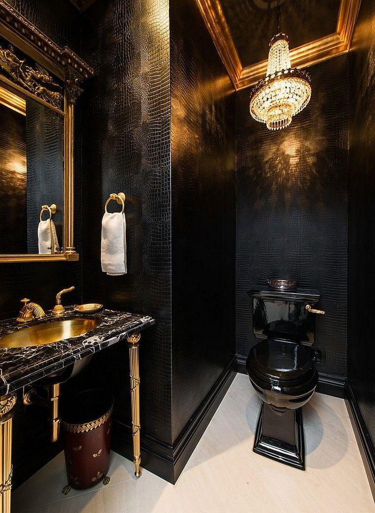 35 Admirable Black Bathroom Ideas Bathroomideas Bathroomdecor Bathroomdesign Gold Bathroom Decor Black And Gold Bathroom Bathroom Interior Design