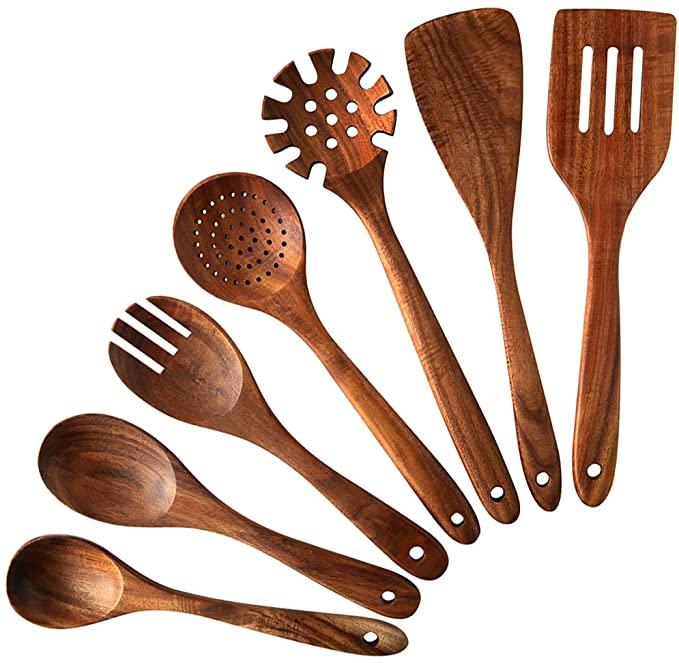 7pc Teak Wooden Spoons And Spatula Utensilhos De Cozinha Cozinha Deco