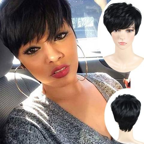 2016 Short Pixie Cut Short Wigs For Black Women Cheap Synthetic Wigs Cheap  Hair Wig African American Black Wig Perruque 841f2d7e38f8
