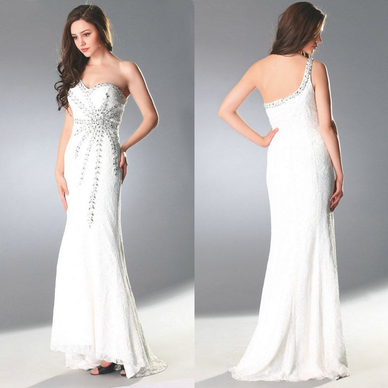 2015 Graceful Handmade Evening Dresses Trumpet/Mermaid One Shoulder Brush Train Beading Crystal Lace Prom Dresses